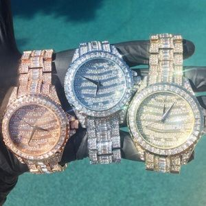 Full iced out Luxury stylish hip hop party watch